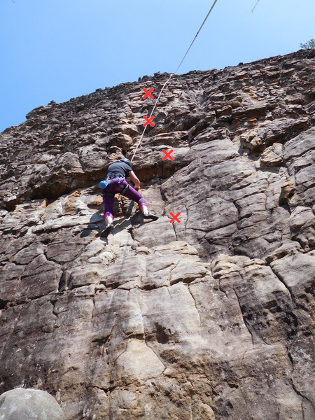 Rock Climbing Photo: Climbing Little Sprout. Some bolts are visible in ...