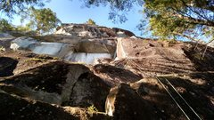 Rock Climbing Photo: Looking up at Little Fire from the base. P1 comes ...