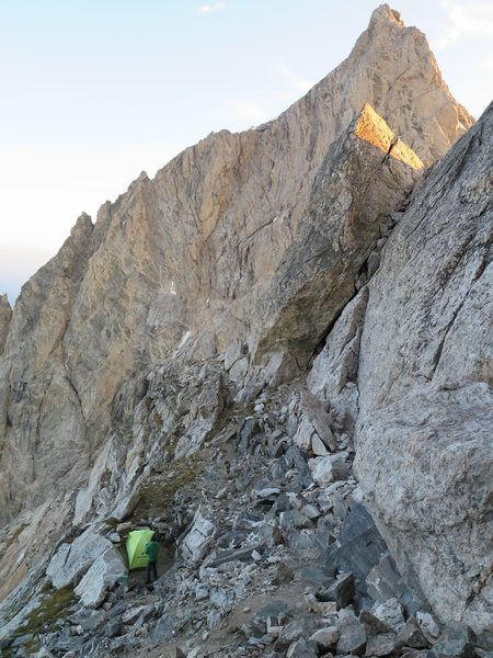 Our first night on the Grand Traverse with some alpinglow on the North side of the Grand Teton and Owen.