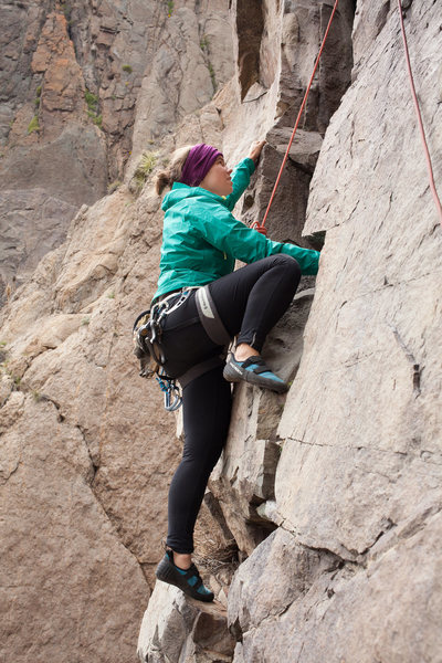 The start of Pitch 2 of Ruta Normal in Cajon del Maipo, Chile.     <br> <br> Climber: Callie Hefstad.