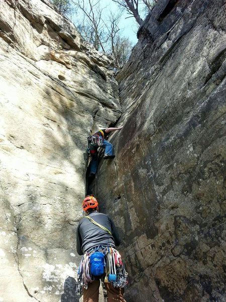 Hung on gear for the first time on this route trying to muster up the courage to trust the polished foot holds.