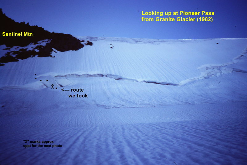 Rock Climbing Photo: [Photo#2] Pioneer Pass from below (1982)