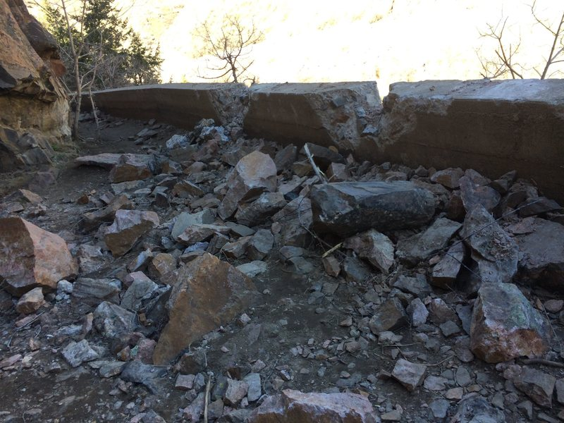 Rock fall at Canal Zone. Photo taken April 6, 2016.
