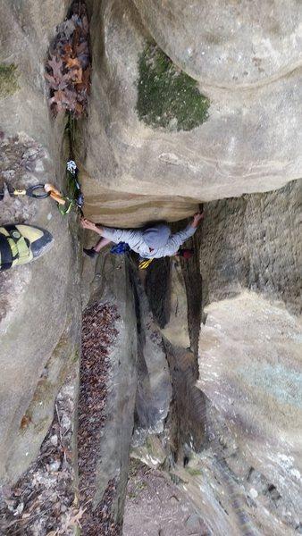 Rock Climbing Photo: Josh finishing NoBody Wins.