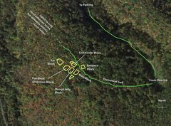 Rock Climbing Photo: Map from clearing using Tom Anderson's topo superi...