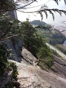 Rock Climbing Photo: The exposed section near Broadway ledge on the tra...
