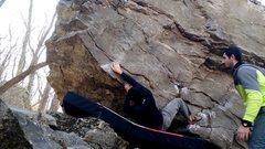 Rock Climbing Photo: Making the cross move