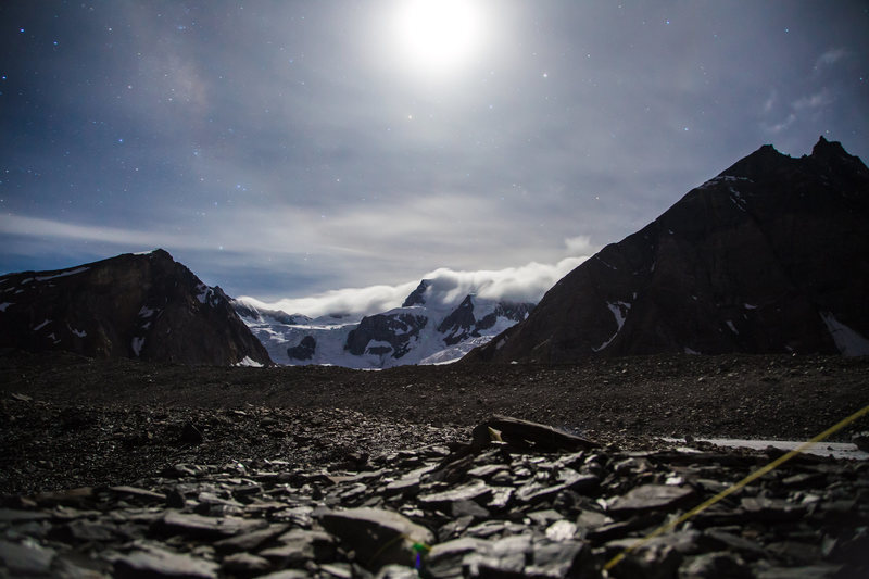 Gunthers Col in moonlight, taken from Bara-Shigri Glacier Base Camp