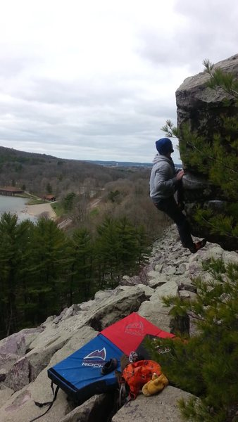 Rock Climbing Photo: Committing last move, but this problem protects we...