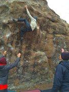 Rock Climbing Photo: Commiting top. Nice work Cali!