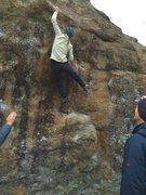 Rock Climbing Photo: Sticking the lip!