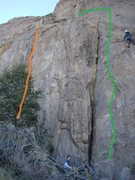 Rock Climbing Photo: Green line shows the approximate route of Batarang...