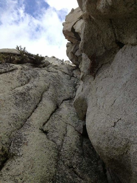 Rock Climbing Photo: The First Dihedral looms above, with The Love Cave...