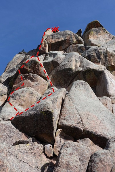 Penguin Arete with Emperor, the 5.11b variation on the left, and Gentoo, the 5.9+ variation on the right.