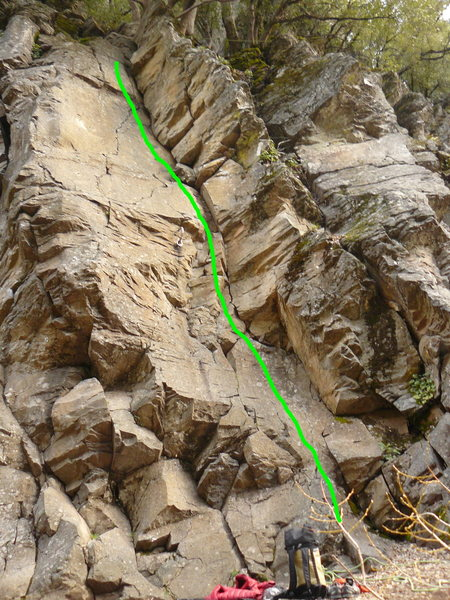 Rock Climbing Photo: Route is indicated by green line