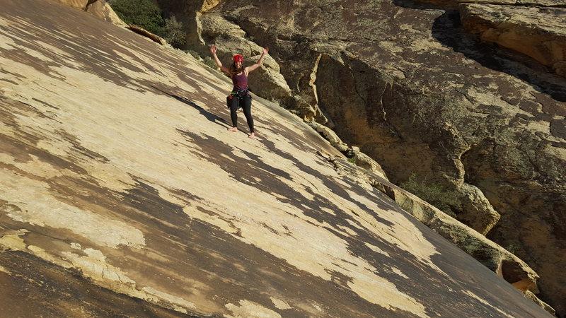 Rock Climbing Photo: Enjoying a barefoot decent down the slab gully.
