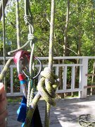 Rock Climbing Photo: Step 1: My weighted harness & belay. (My figure 8 ...