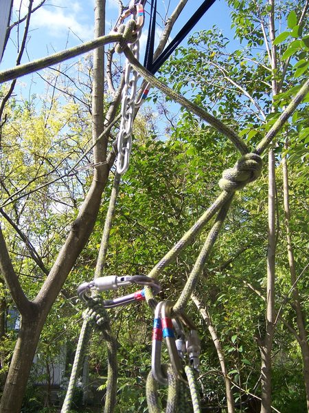 Step 4: One mopre shot of the system after I have unclipped the belay.