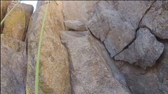Rock Climbing Photo: Several more loose rocks. Lowest is loosest, and i...
