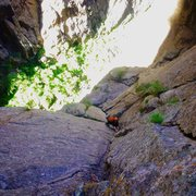 Rock Climbing Photo: Looking down at the long first pitch of Dragging O...