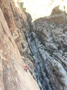 Rock Climbing Photo: Pitch 5, a short yet spicy pitch to a great stance...