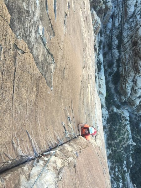 Rock Climbing Photo: Pitch 6, the most fun of all. Incredible position ...