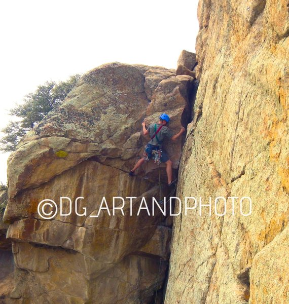 The last stout move of the crux on Standard Route. Pitch 3