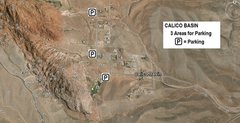 Rock Climbing Photo: Established Parking Areas for Calico Basin (April ...
