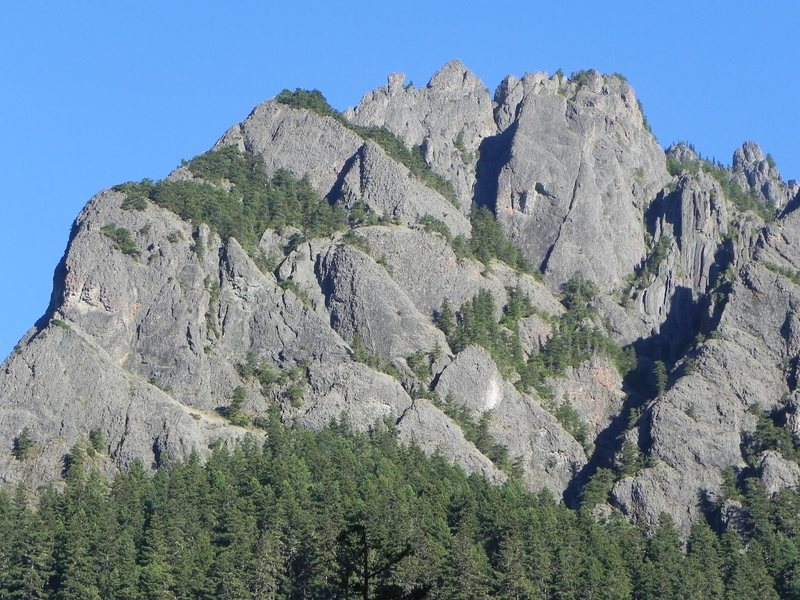 Tyler Peak Crags from across the valley.  Much of the climbing is back around the left side.