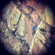 Rock Climbing Photo: Starting upper crux.  Let me know if that's you. I...