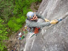 Rock Climbing Photo: Climber aiding the first pitch of City Park.