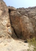 "Rock Climbing Photo: ""MT"" is scrawled right of the crack in g..."