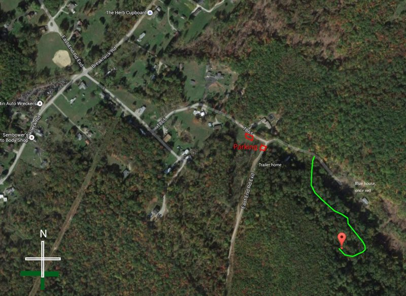 Map from parking area. Dont go down East End road (the power line trail) as it looks like the obvious trail. Go towards the homes that have the KEEP OFF PRIVATE PROPERTY signs; the road is public.