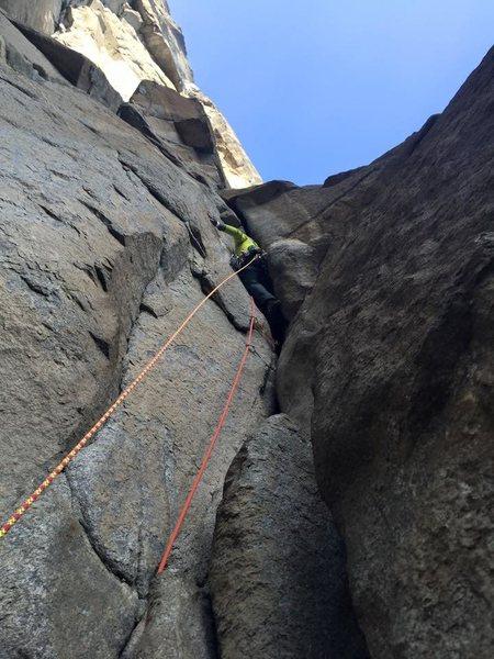 Rock Climbing Photo: offwidth pitch