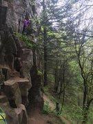 Rock Climbing Photo: kind of an awkward belay spot but a great climb
