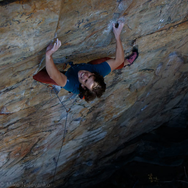 Adam on the Upper Crux Moves of Black and Blue Velvet