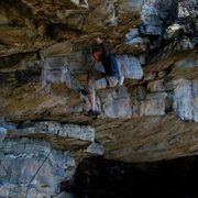 Rock Climbing Photo: John in the iron cross move to the horn  on Mr. He...