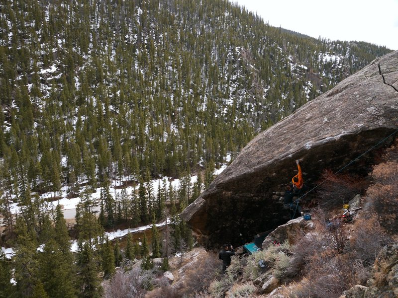 """Will Anglin on the first ascent of """"Nevermore""""."""