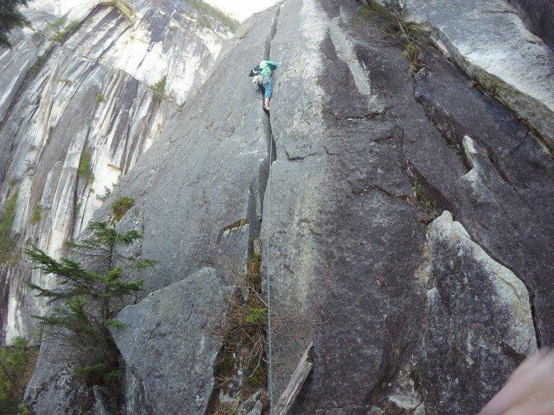 Rock Climbing Photo: Dan leading the 5.10b offwidth. He used a BD #6 fo...