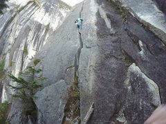Rock Climbing Photo: Dan leading the 5.10b offwidth. He used a BD #6 fo...