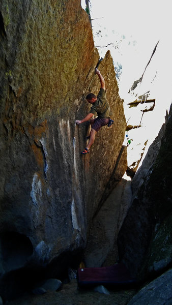 Rock Climbing Photo: This awesome problem ends with a huge committing m...