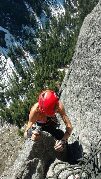 Rock Climbing Photo: 5.8 corner to Library Ledge.