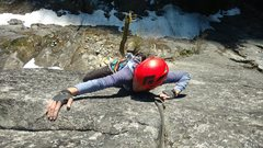 Rock Climbing Photo: Steph Abegg making the final moves on the Psychopa...