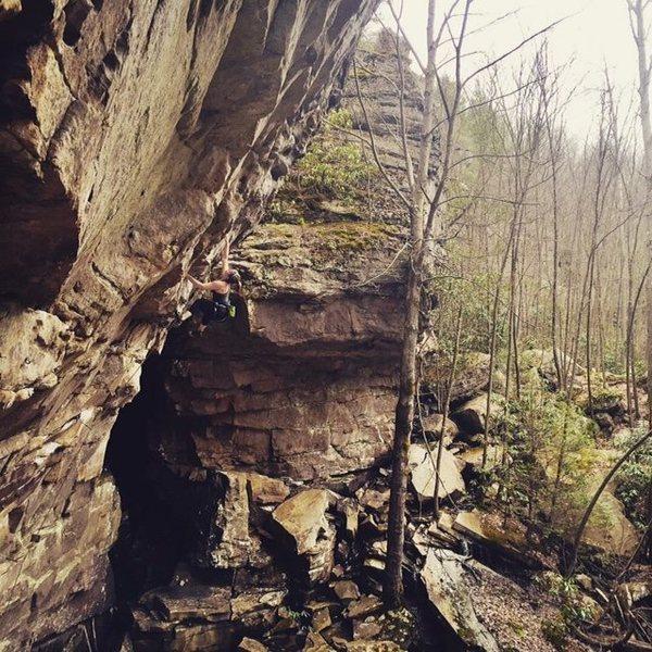 Rock Climbing Photo: Only halfway through Fall Line.