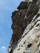 Rock Climbing Photo: The crux roof. Note draw configuration for reduced...