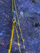 Rock Climbing Photo: Rap to the 1st pitch belay with a single 60M. A li...