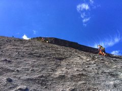 Rock Climbing Photo: Andrea leading the 9 section of the traverse. Take...