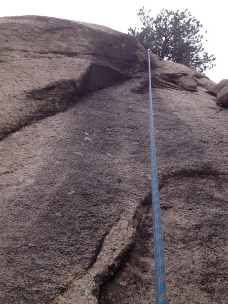 Rock Climbing Photo: The crux area seems to be between the two visible ...