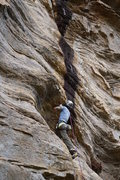 Rock Climbing Photo: Erica chillin' on one of the many rests on this ro...