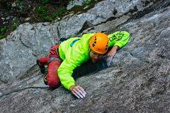 Rock Climbing Photo: Logan before lower crux.